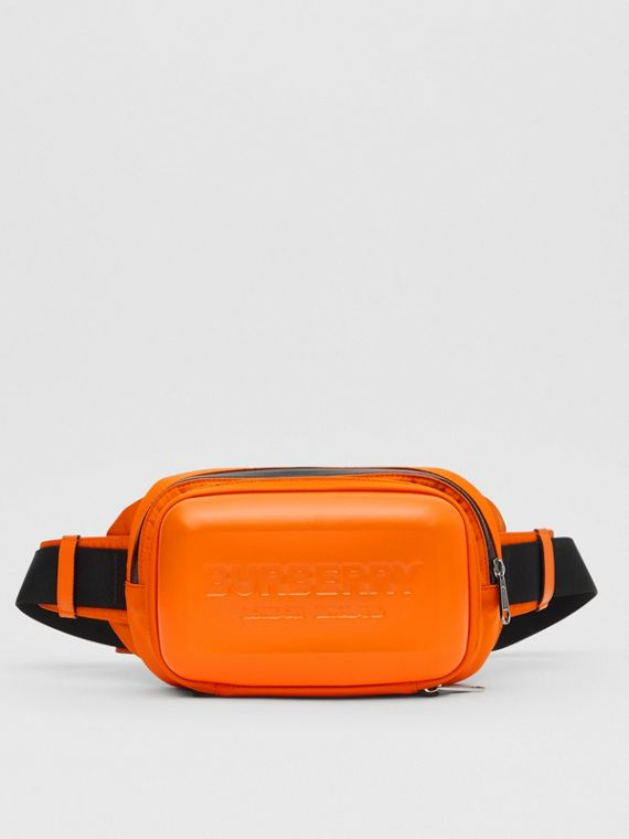 Logo Embossed Panel Nylon Bum Bag in Bright Orange