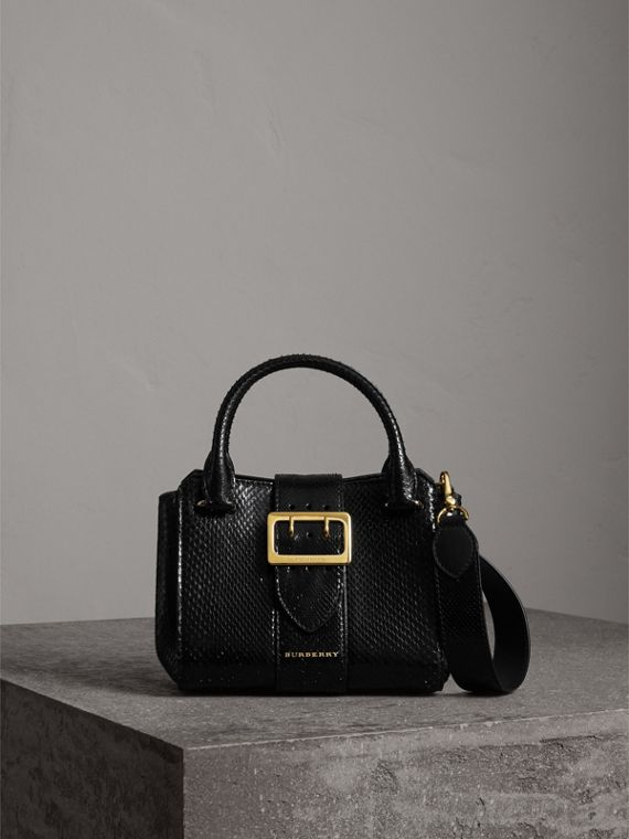 Borsa tote The Buckle piccola in pitone (Nero)