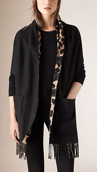 Animal Pattern Merino Wool Cashmere Stole