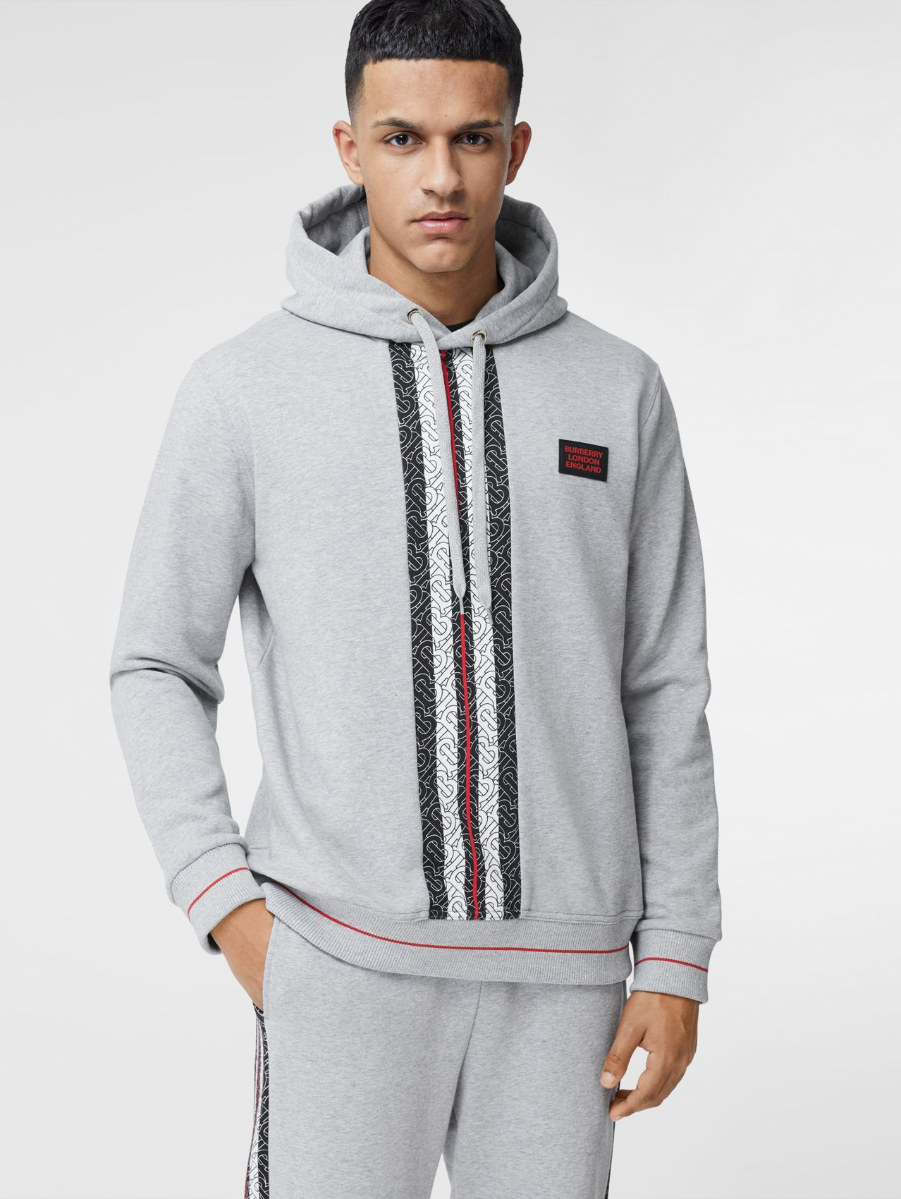 Monogram Stripe Panel Cotton Hoodie in Pale Grey Melange