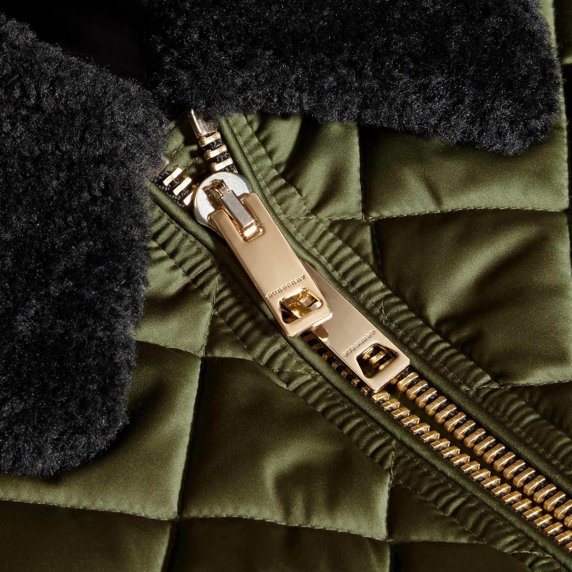 Long Quilted Bomber Jacket with Shearling Collar - gallery image 2