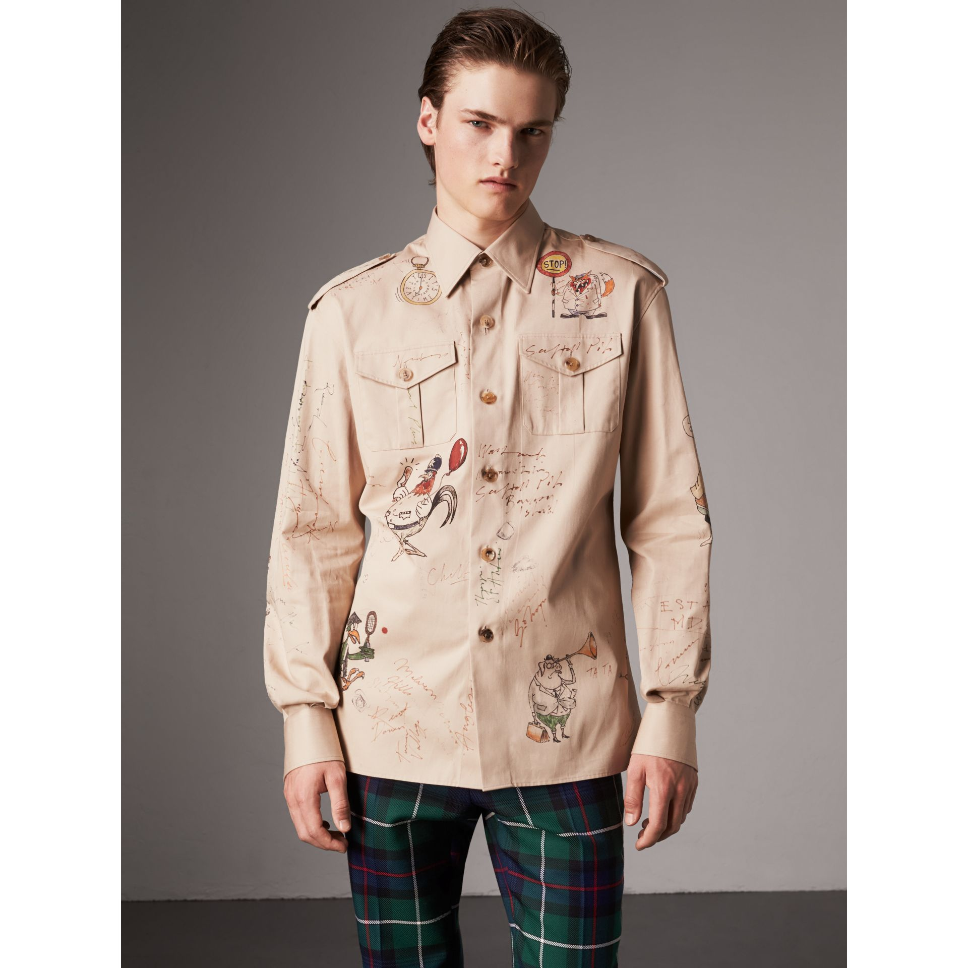 Sketch Print Cotton Army Shirt in Sand - Men | Burberry - gallery image 5