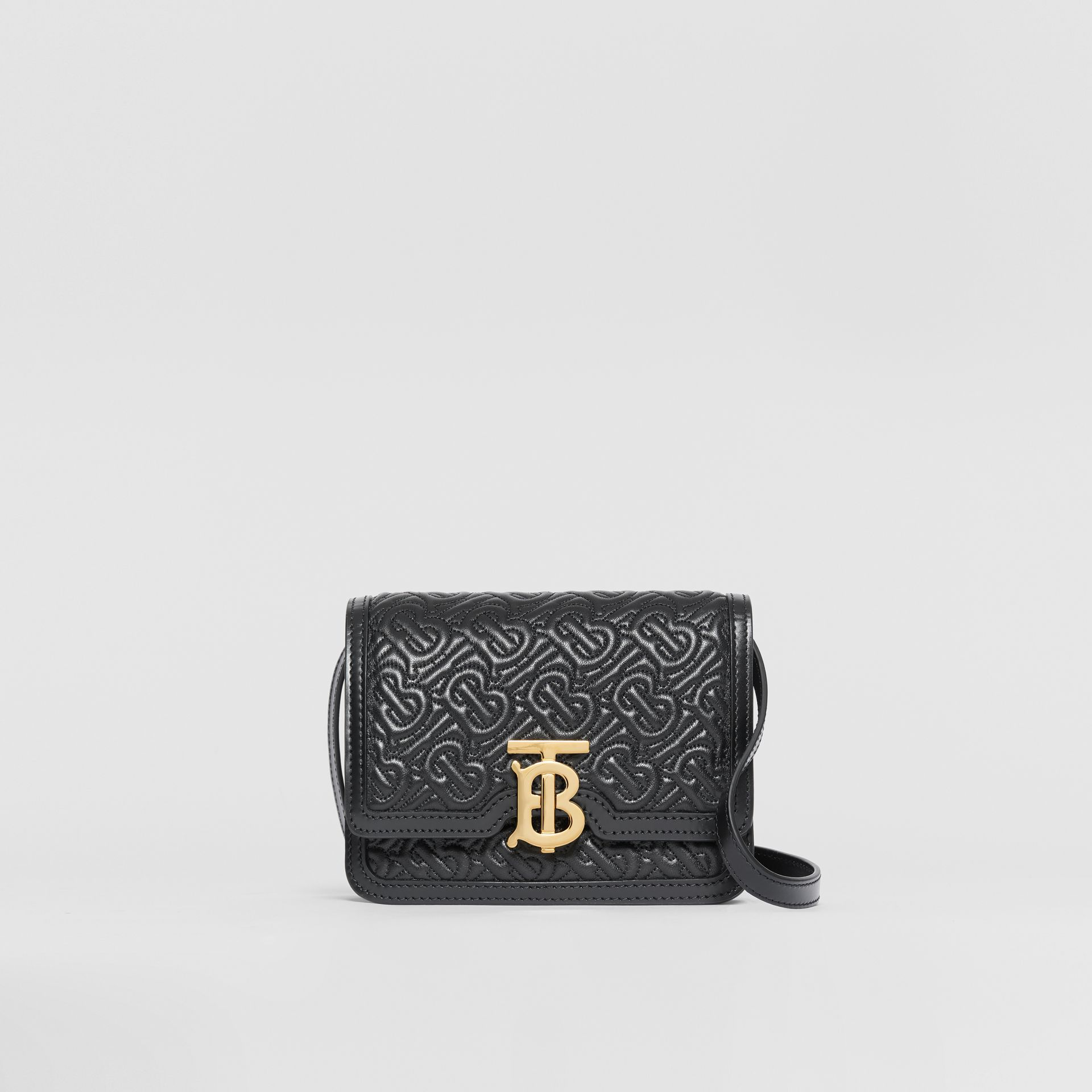 Mini Quilted Monogram Lambskin TB Bag in Black - Women | Burberry United Kingdom - gallery image 0