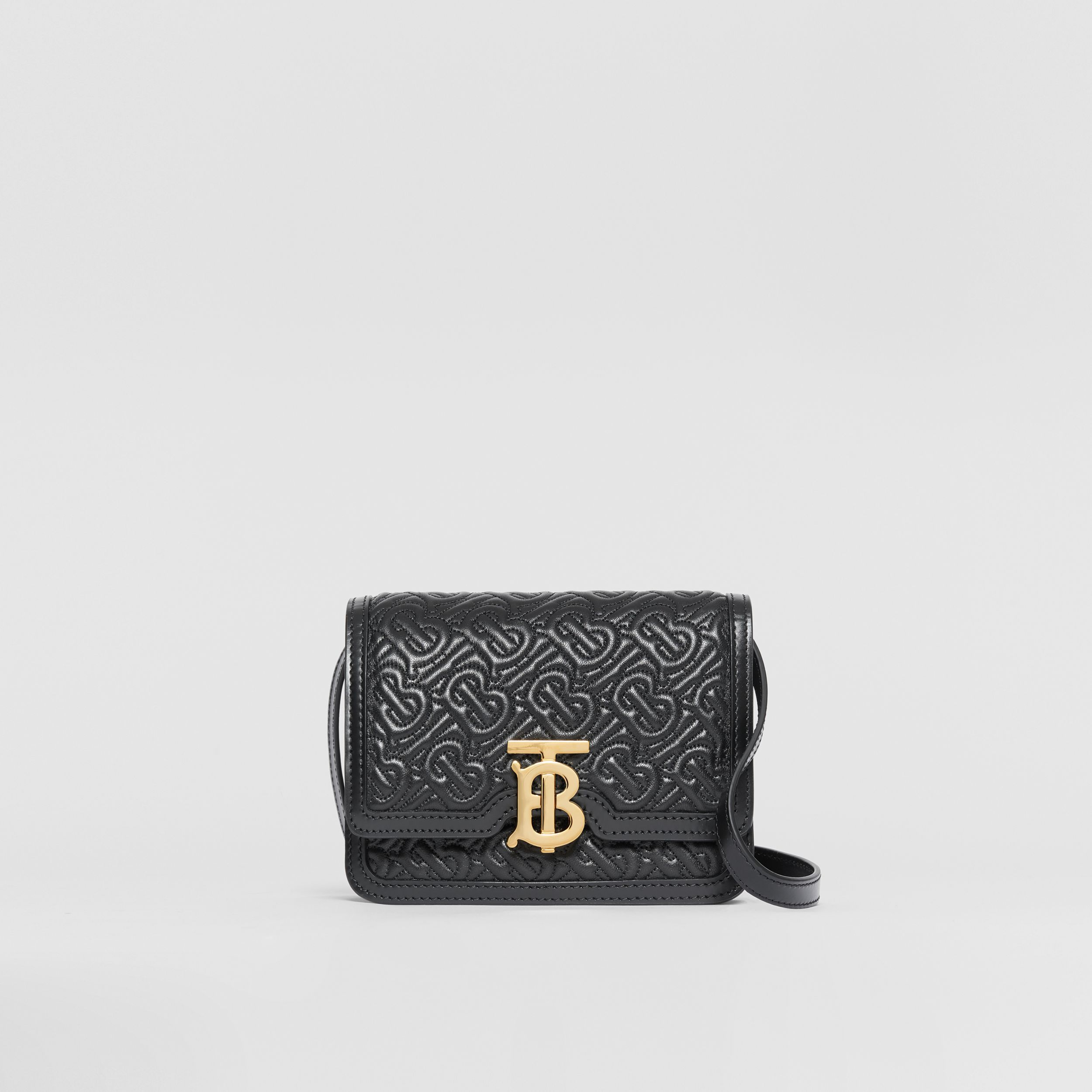 Mini Quilted Monogram Lambskin TB Bag in Black - Women | Burberry - 1