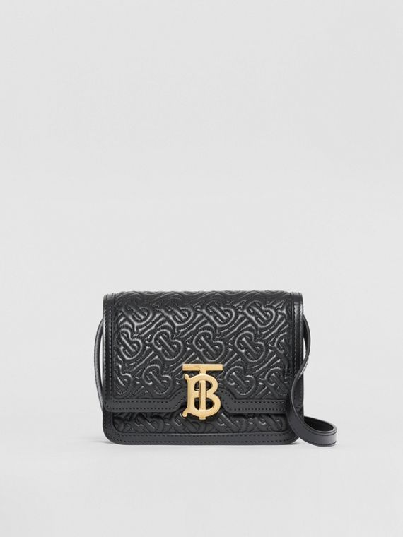 Mini Quilted Monogram Lambskin TB Bag in Black