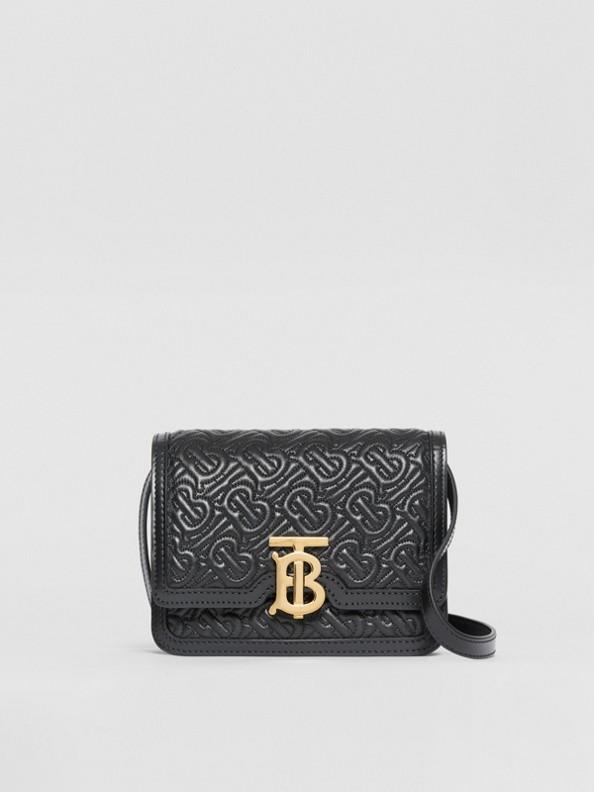 TB Bag im Miniformat aus Lammleder mit Thomas Burberry-Monogrammmuster (Schwarz)