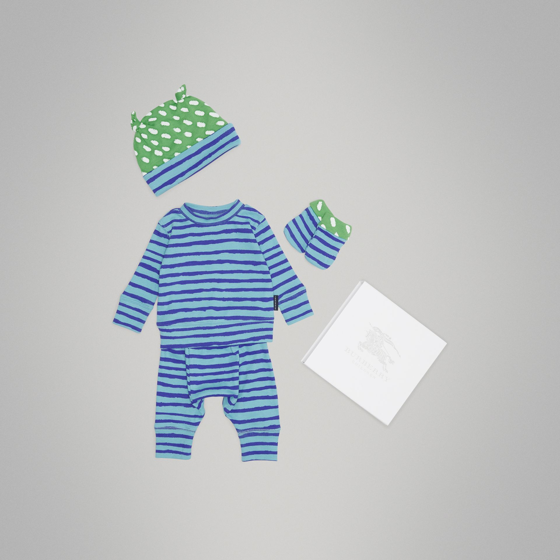 Striped Cotton Four-piece Baby Gift Set in Teal - Children | Burberry - gallery image 0