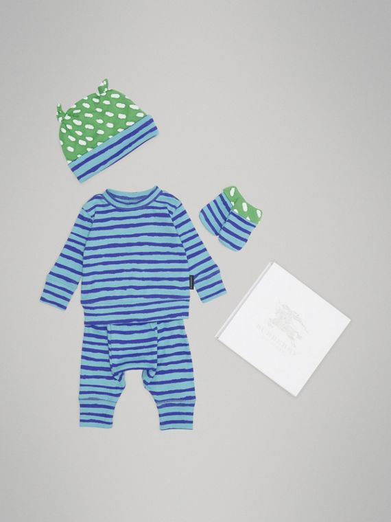Striped Cotton Two-piece Baby Gift Set in Teal