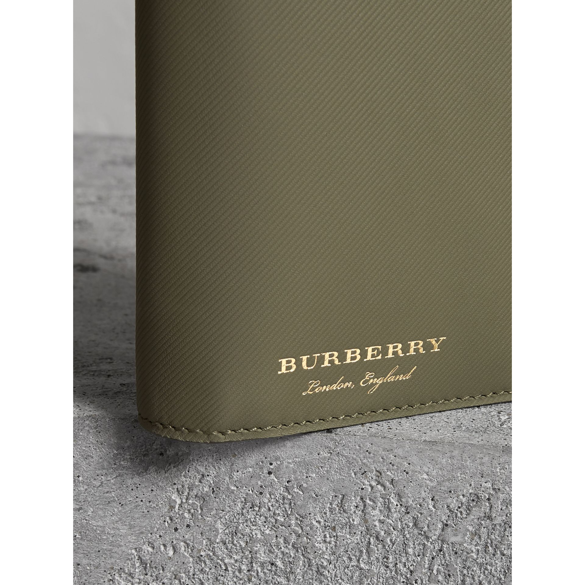 Trench Leather Continental Wallet in Slate Green - Men | Burberry - gallery image 1