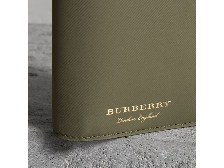 Trench Leather Continental Wallet in Slate Green - Men | Burberry - cell image 1