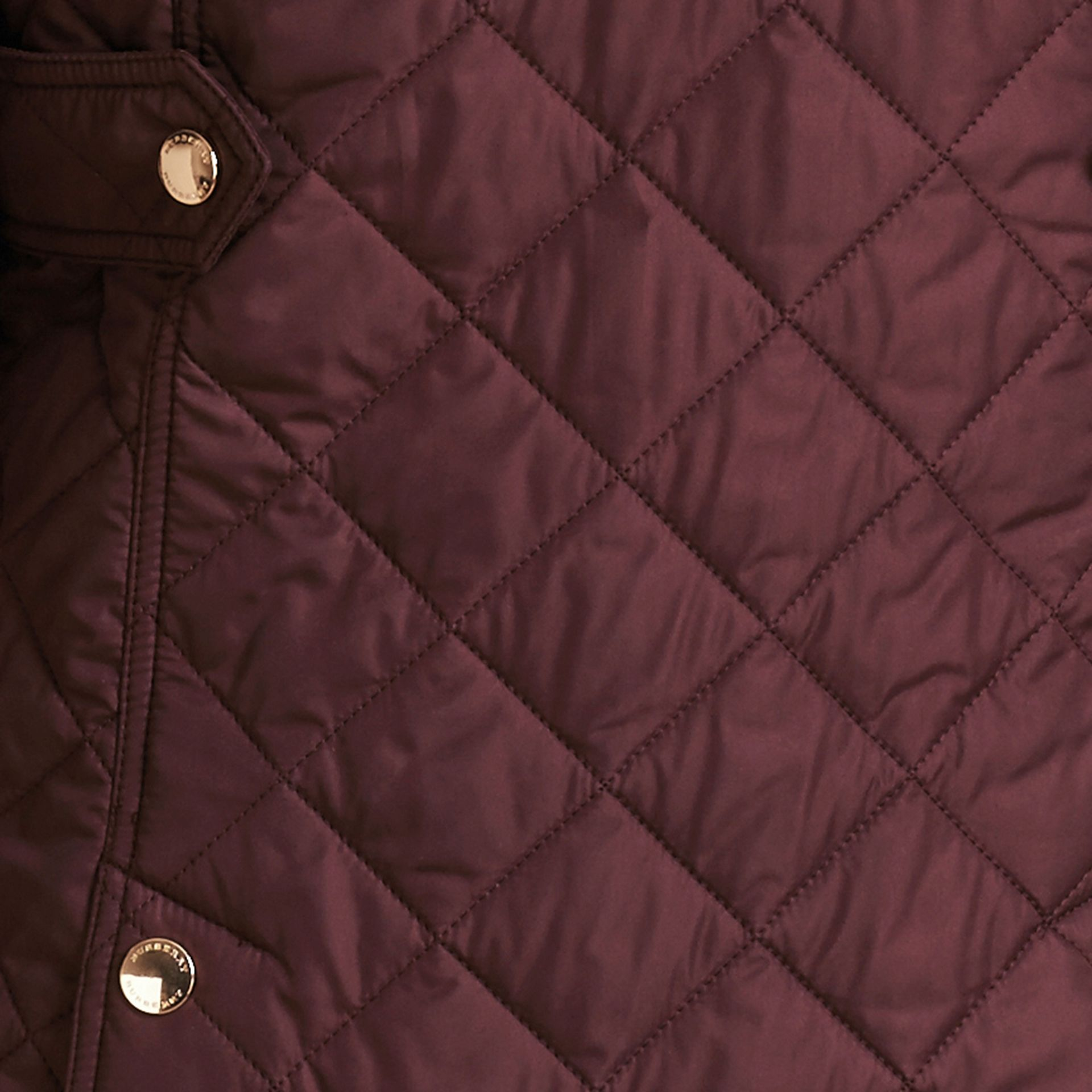 Burgundy Check Detail Diamond Quilted Jacket Burgundy - gallery image 6
