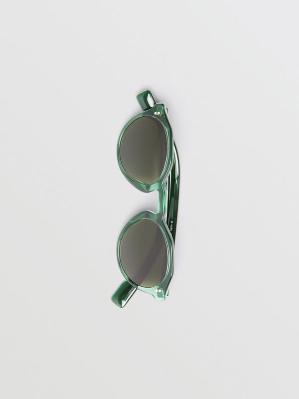 Keyhole Round Frame Sunglasses in Green - Men | Burberry Australia - cell image 3