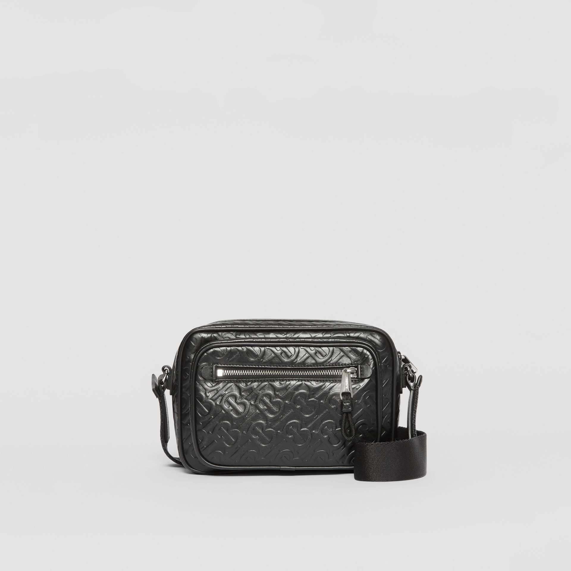 Monogram Leather Crossbody Bag in Black - Men | Burberry Australia - gallery image 0