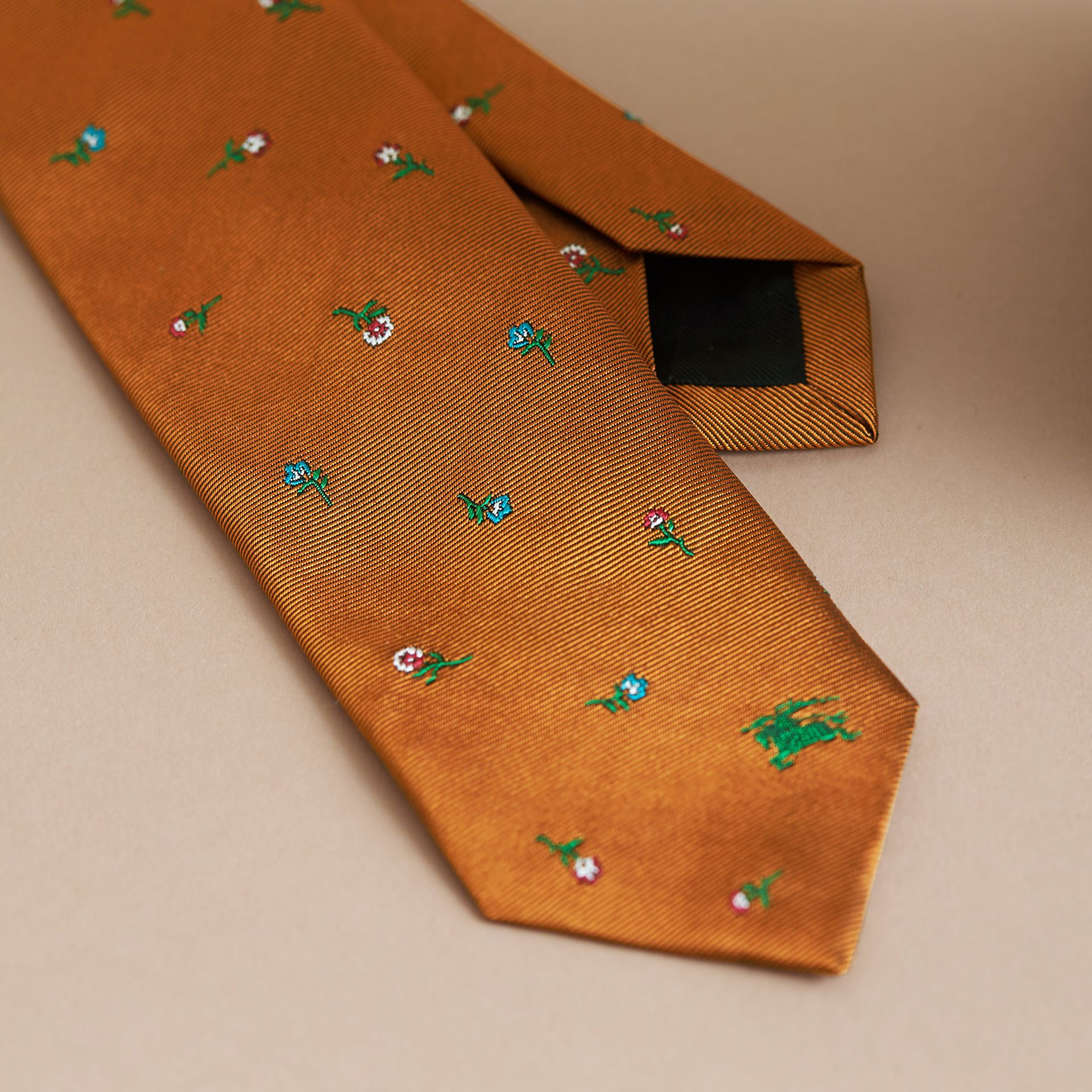 Slim Cut Floral Silk Jacquard Tie in Copper - Men | Burberry - gallery image 2