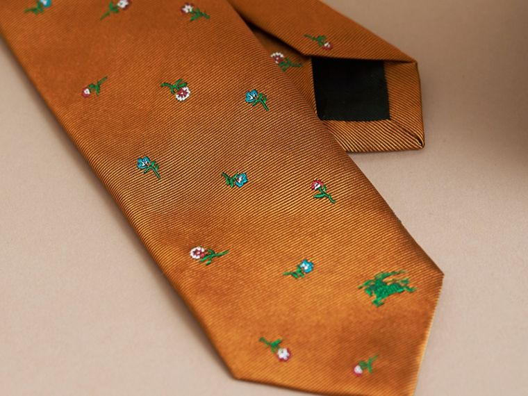 Slim Cut Floral Silk Jacquard Tie in Copper - Men | Burberry - cell image 1
