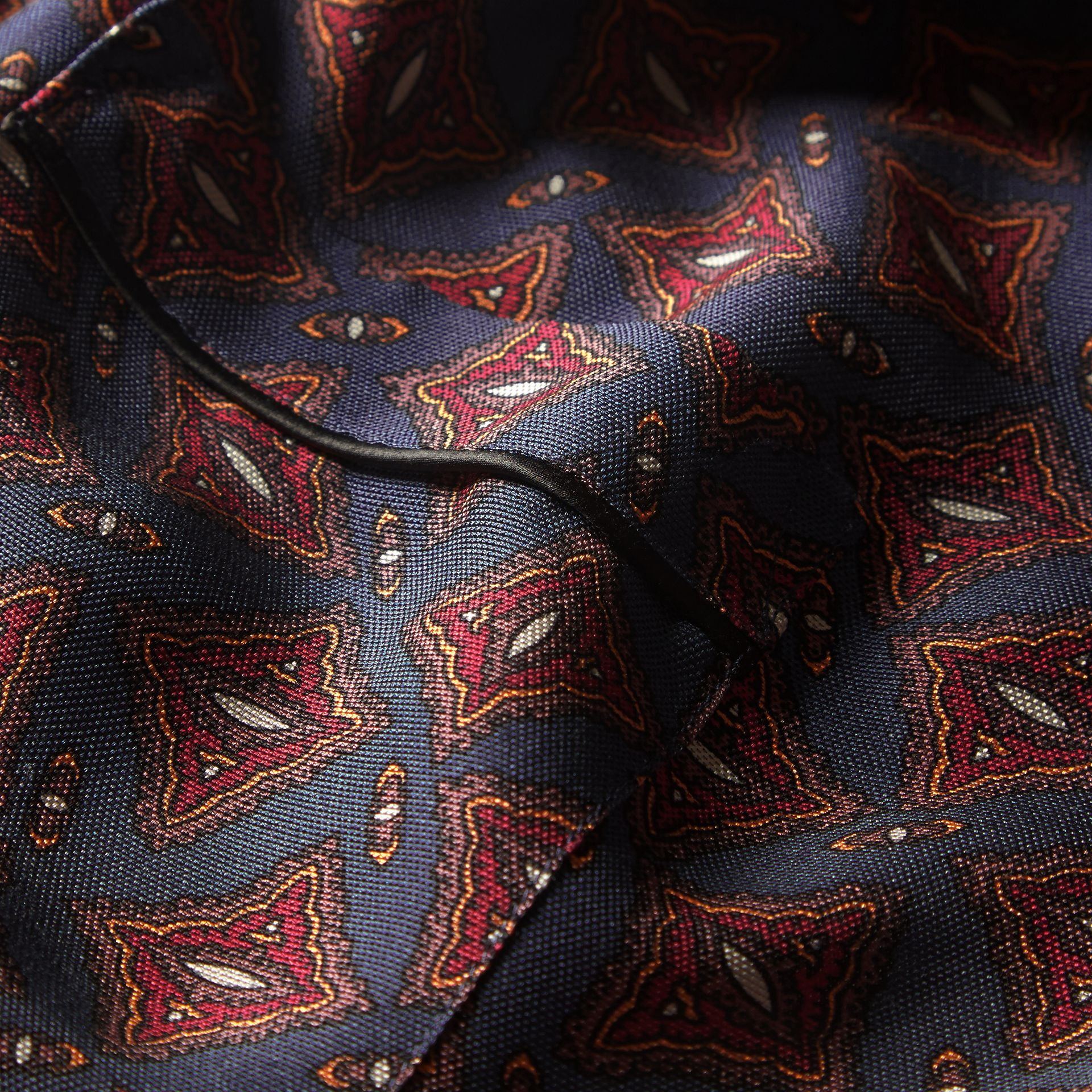 Navy Long-sleeved Geometric Print Silk Pyjama-style Shirt - gallery image 2