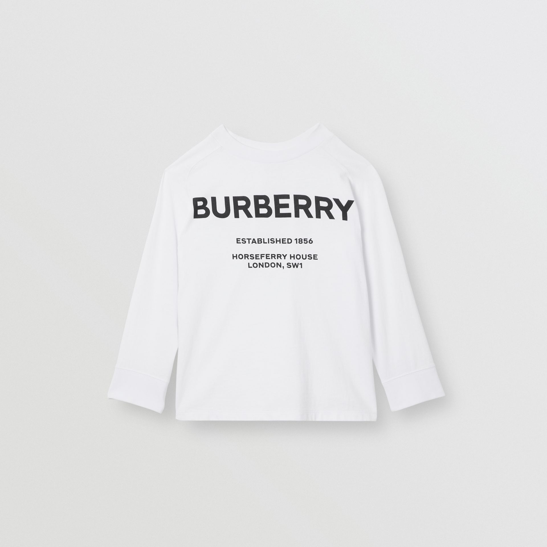 Long-sleeve Horseferry Print Cotton Top in White | Burberry Australia - gallery image 0
