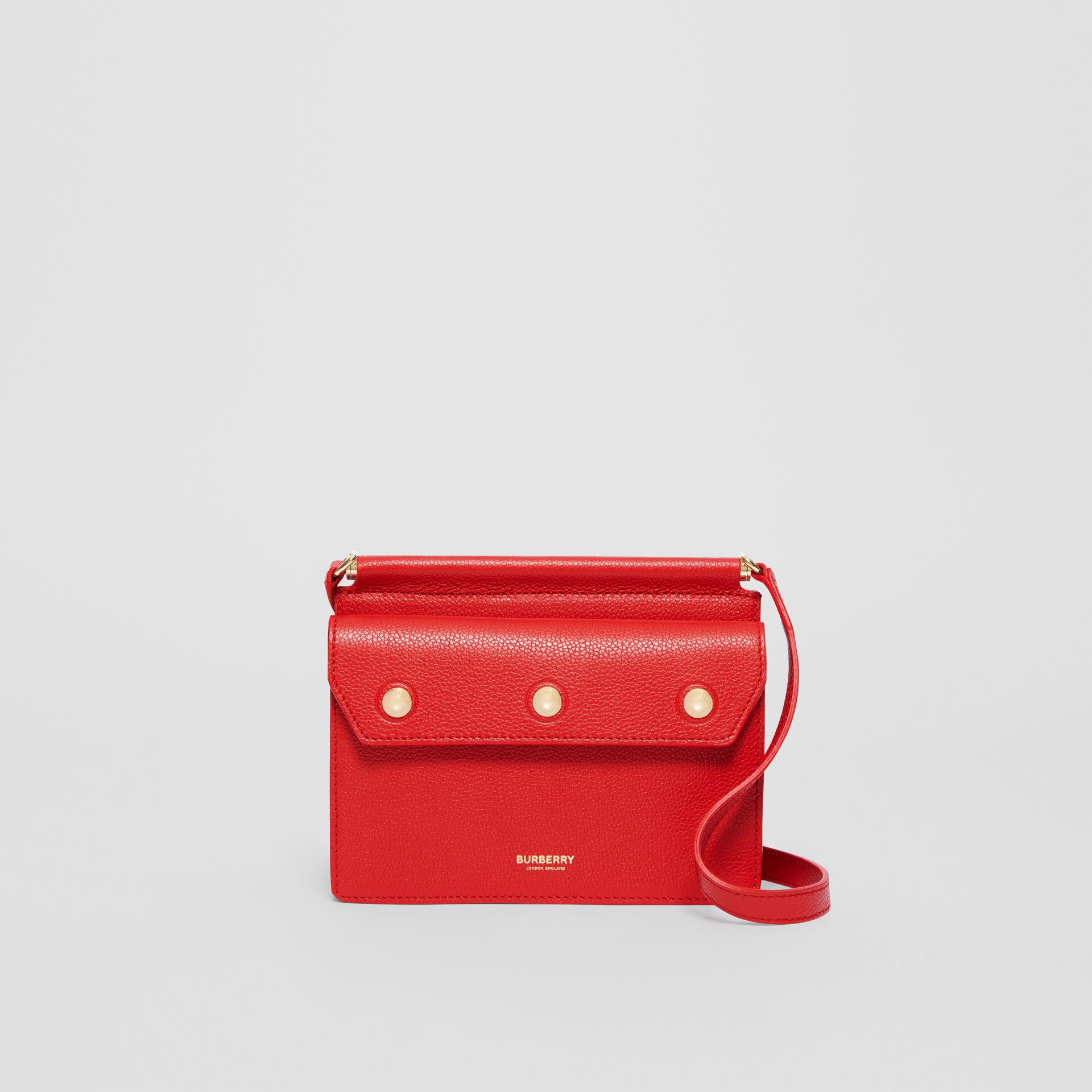 Mini Leather Title Bag with Pocket Detail in Bright Military Red - Women | Burberry - gallery image 0