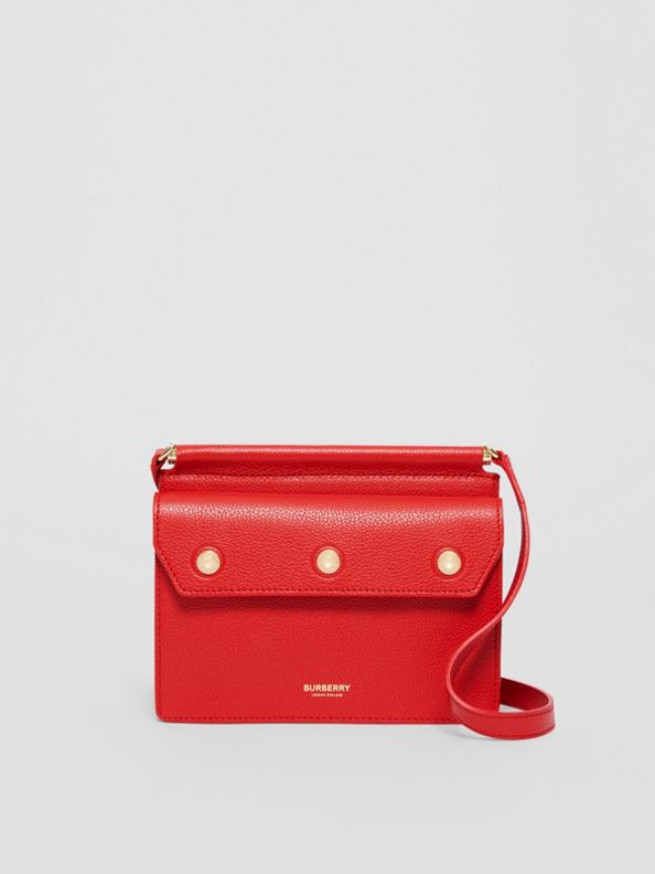 Mini Leather Title Bag with Pocket Detail in Bright Military Red
