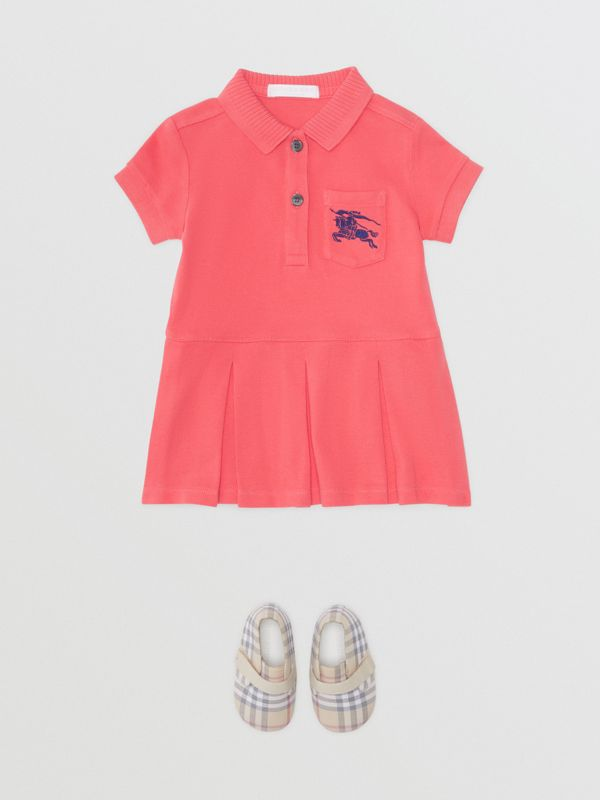 EKD Logo Cotton Polo Dress in Bright Pink - Children | Burberry United Kingdom - cell image 2