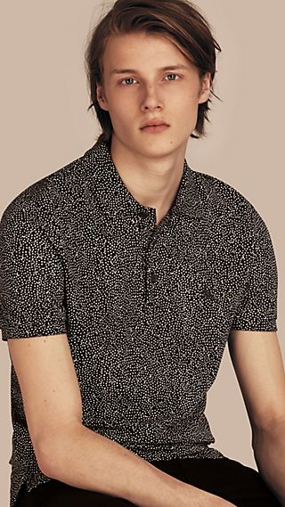 Painterly Spot Print Cotton Polo Shirt