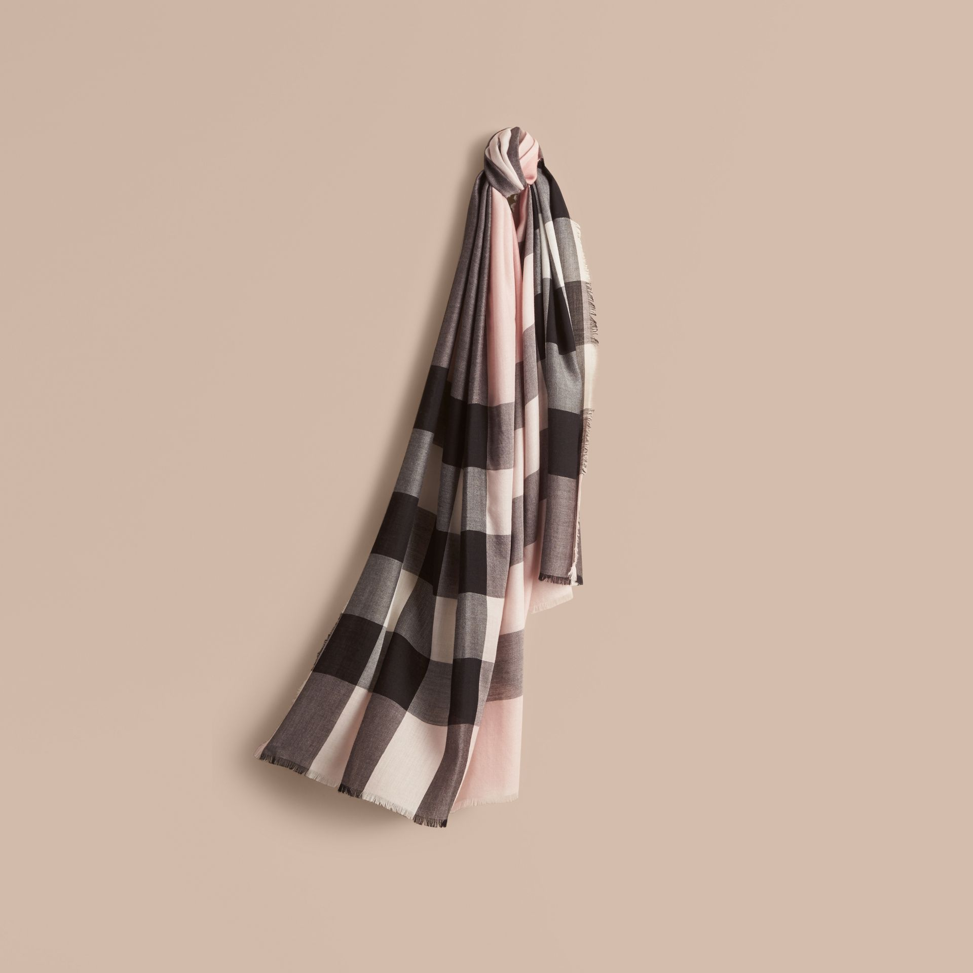The Lightweight Cashmere Scarf in Check Rose - gallery image 6