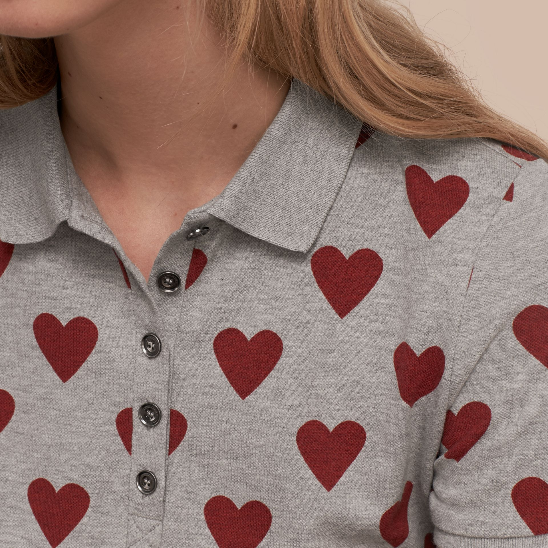 Parade red Heart Print Stretch Cotton Piqué Polo Shirt Parade Red - gallery image 5