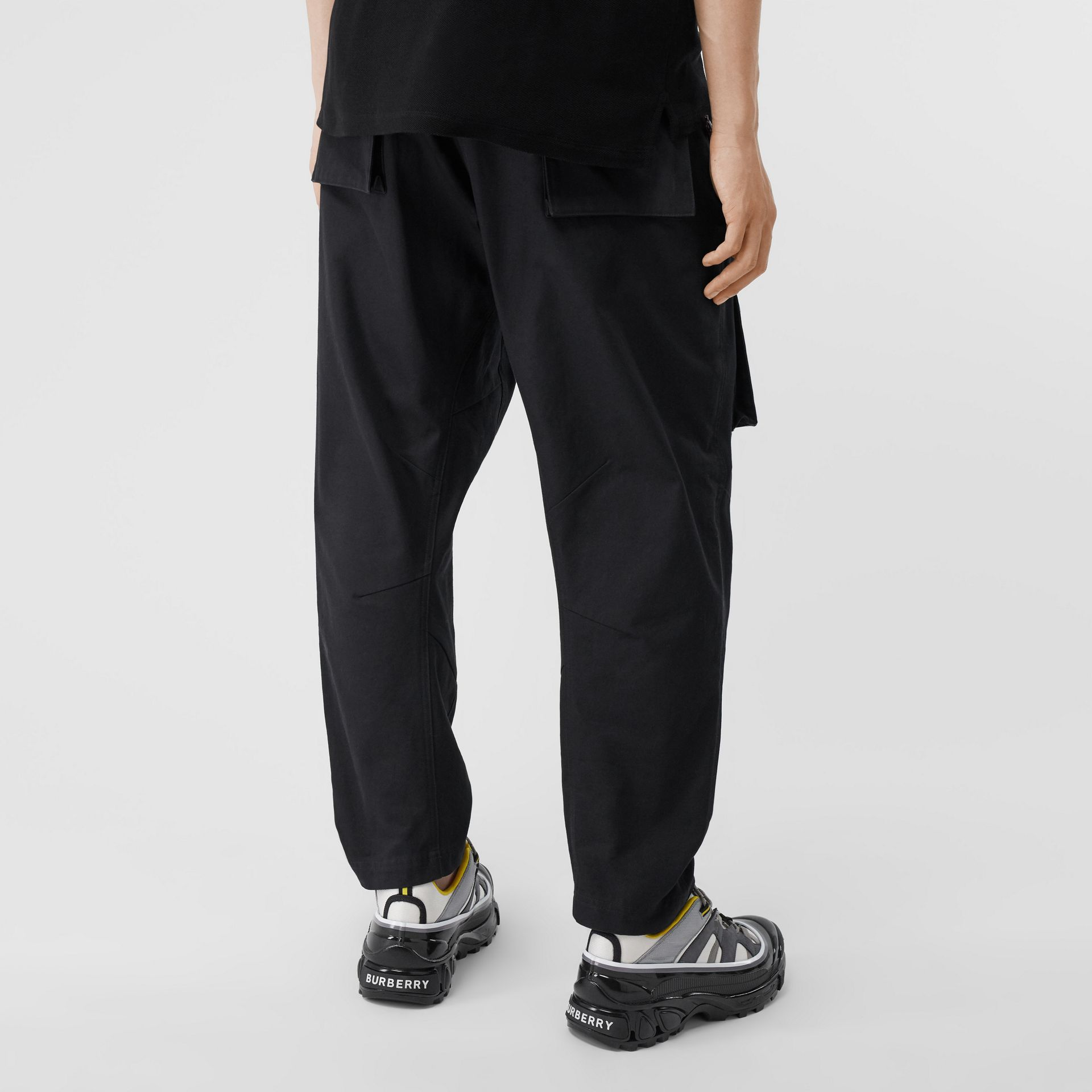 Cotton Cargo Trousers in Black - Men | Burberry - gallery image 2