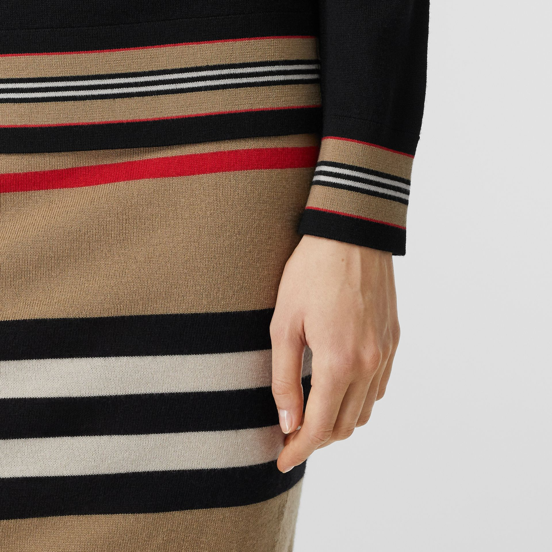 Icon Stripe Detail Merino Wool Sweater in Black - Women | Burberry - gallery image 1