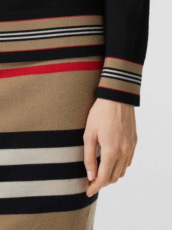 Icon Stripe Detail Merino Wool Sweater in Black - Women | Burberry - cell image 1