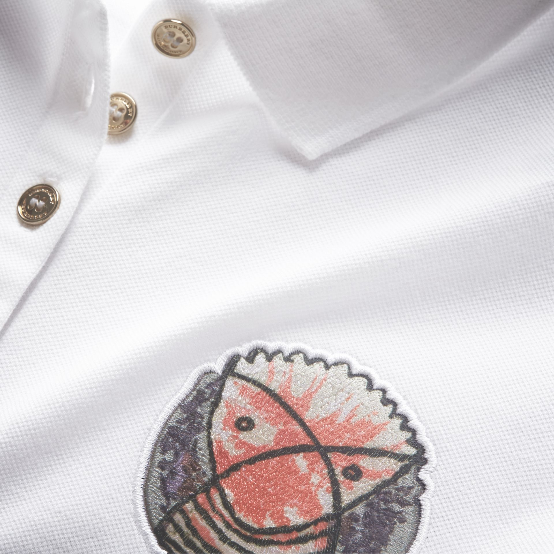 Pallas Heads Appliqué Cotton Piqué Polo Shirt in White - Women | Burberry - gallery image 2