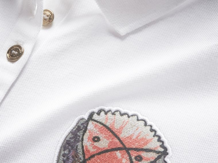 Pallas Heads Appliqué Cotton Piqué Polo Shirt in White - Women | Burberry - cell image 1