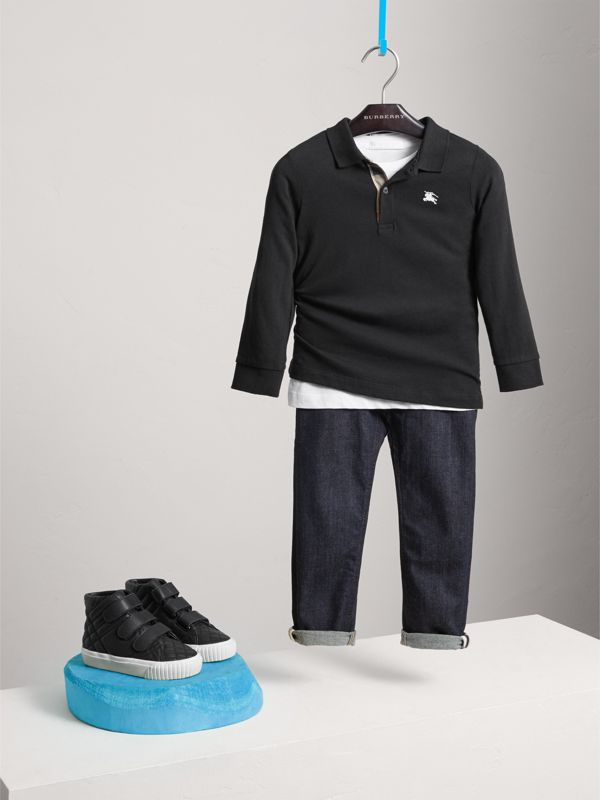 Long-sleeve Cotton Jersey Polo Shirt in Black - Boy | Burberry United Kingdom - cell image 2