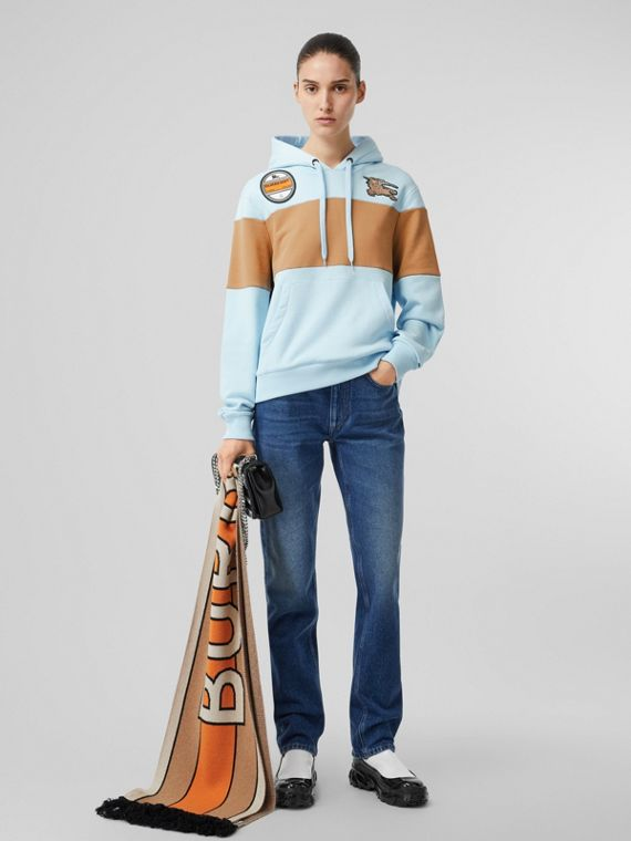 Logo Graphic Panelled Cotton Oversized Hoodie in Pale Blue