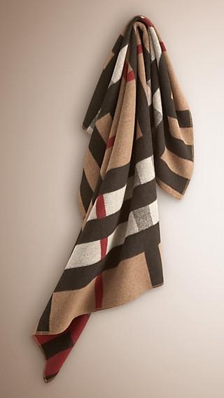Couverture en laine et cachemire à motif check