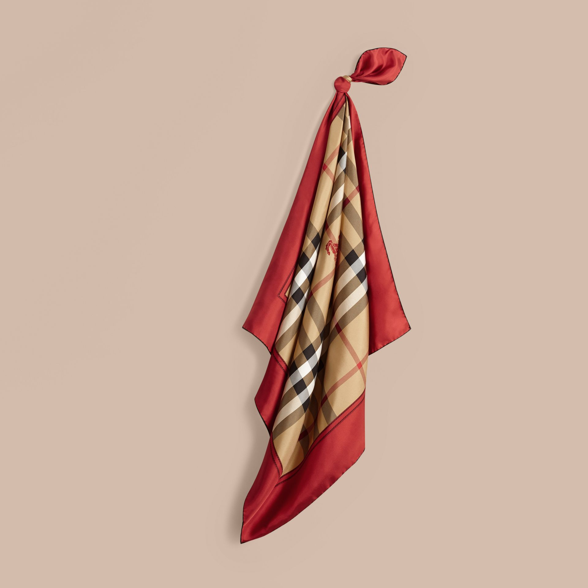 Bright military red Horseferry Check Silk Square – Medium Bright Military Red - gallery image 1