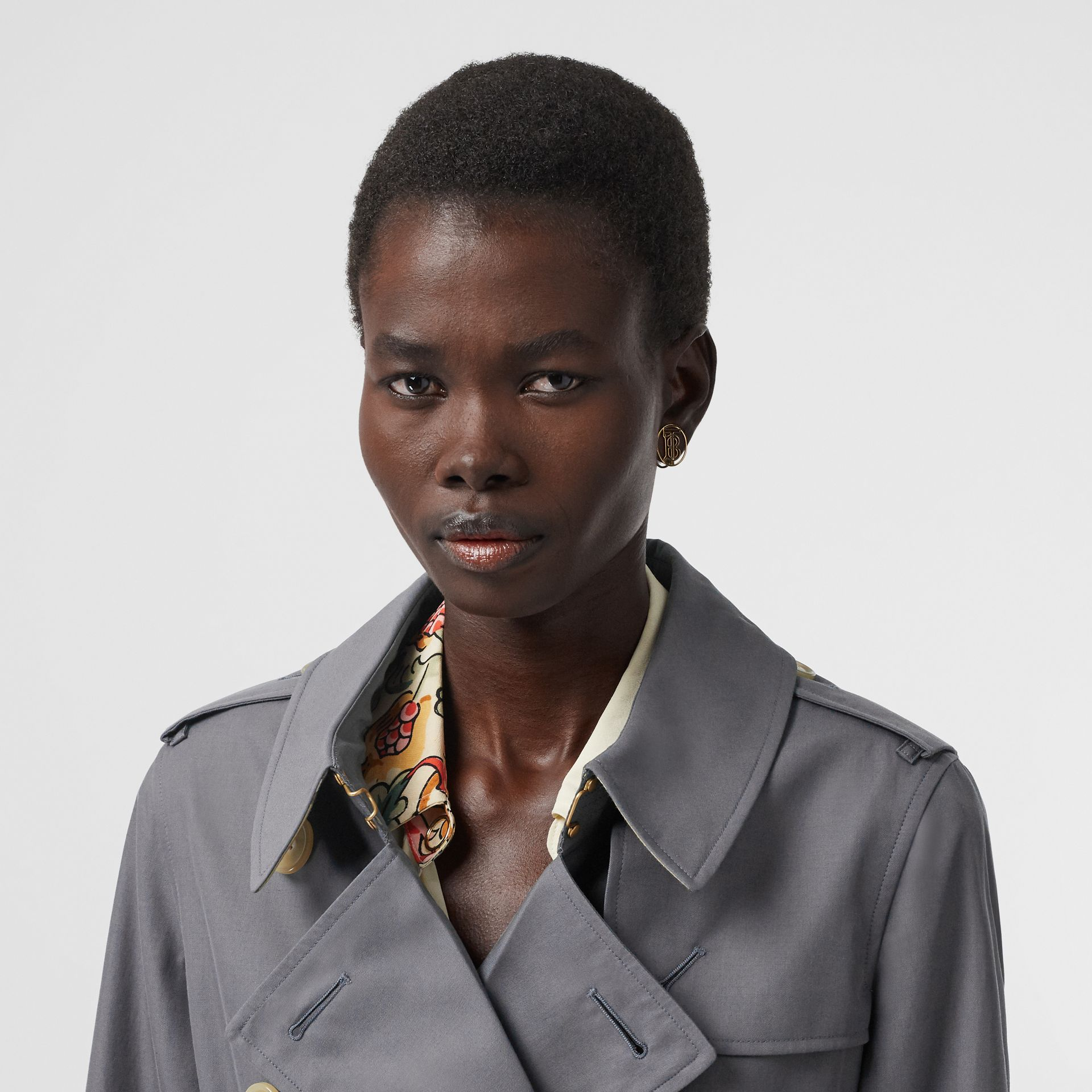 Tropical Gabardine Trench Coat in Mid Grey - Women | Burberry Singapore - gallery image 1