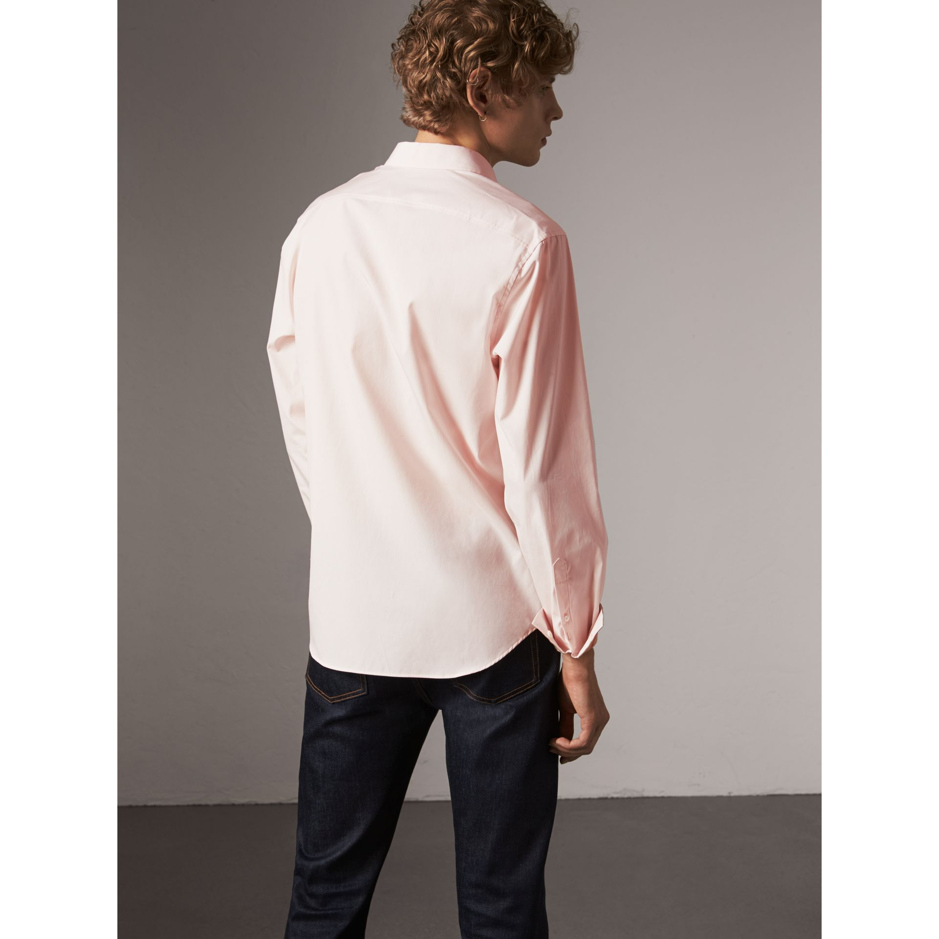 Check Detail Stretch Cotton Poplin Shirt in Pale Pink - Men | Burberry Australia - gallery image 2