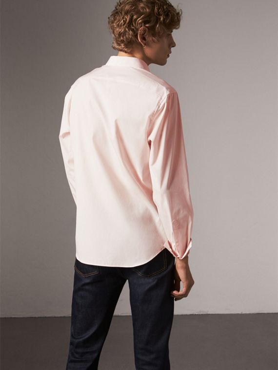 Check Detail Stretch Cotton Poplin Shirt in Pale Pink - Men | Burberry - cell image 2