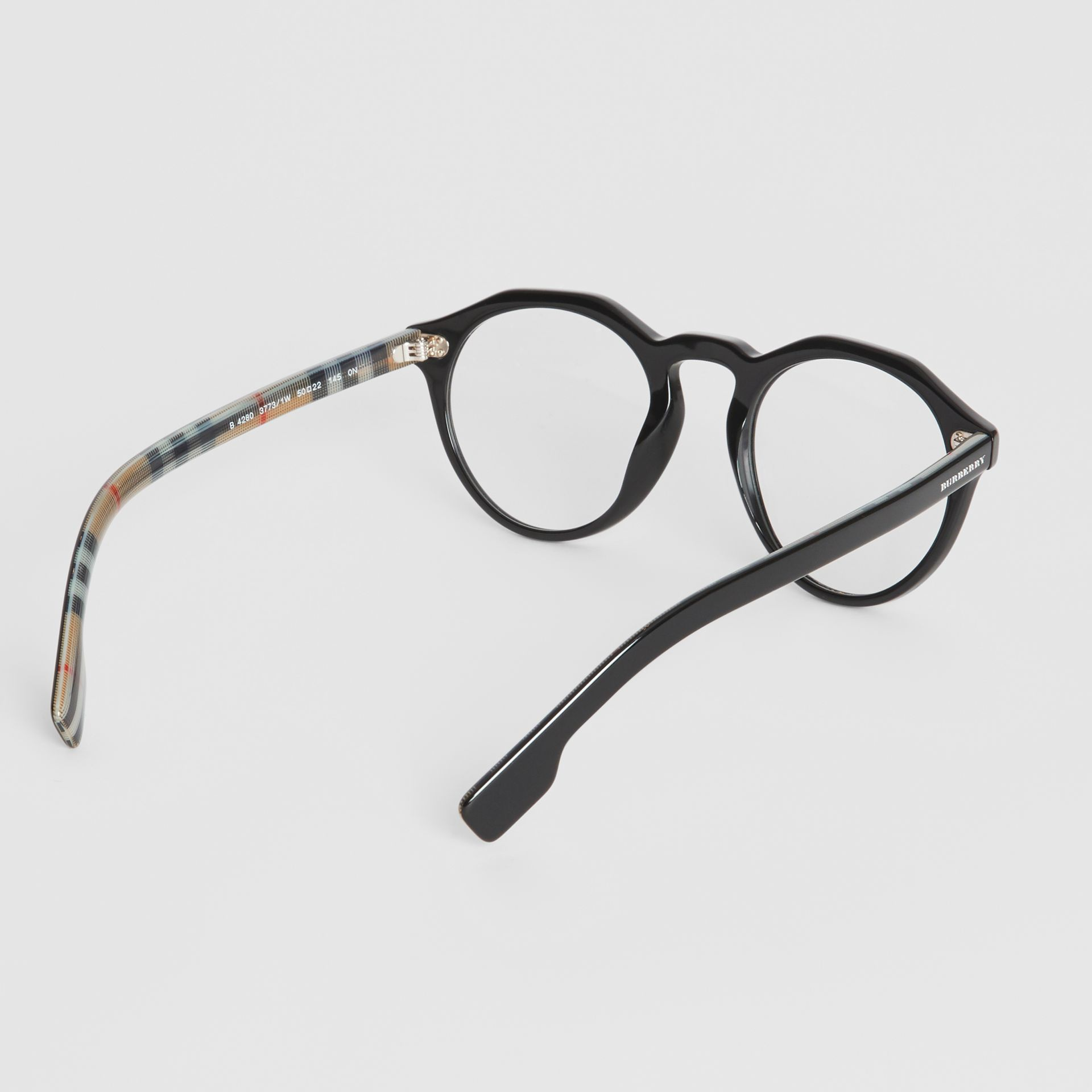 Vintage Check Detail Keyhole Round Optical Frames in Black - Men | Burberry Canada - gallery image 4