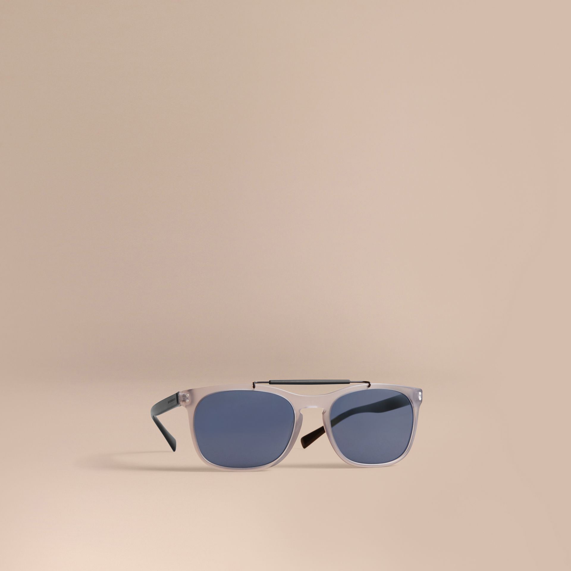 Top Bar Square Frame Sunglasses in Mineral Grey - Men | Burberry Singapore - gallery image 1