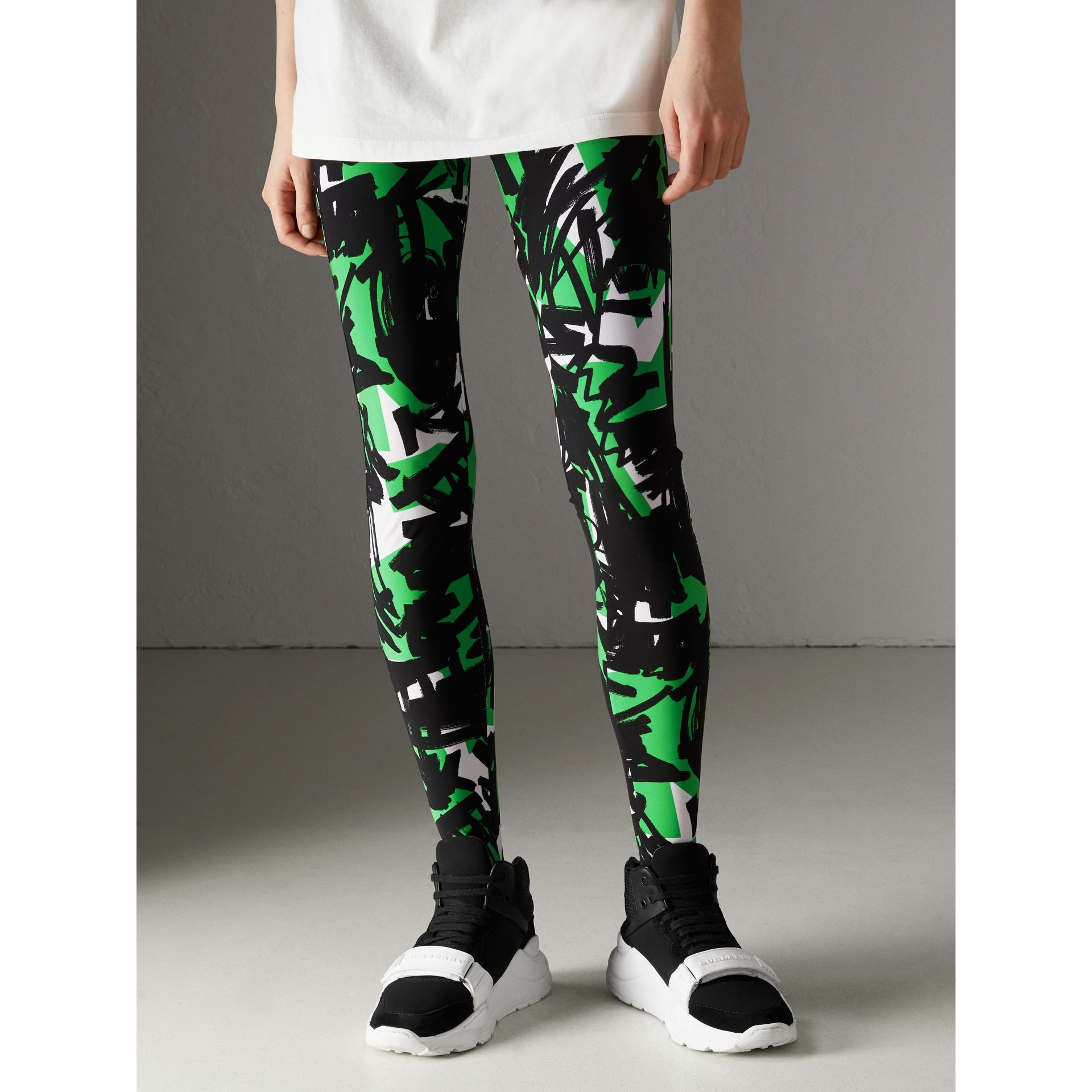 Graffiti Print Leggings in Neon Green - Women | Burberry - gallery image 4