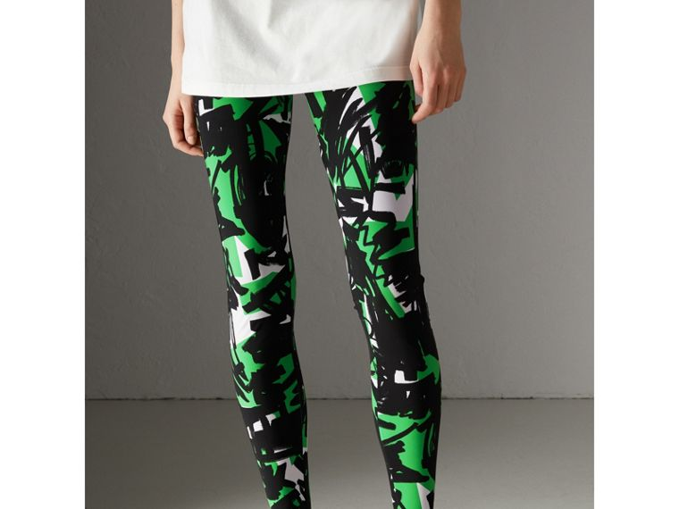 Graffiti Print Leggings in Neon Green - Women | Burberry - cell image 4