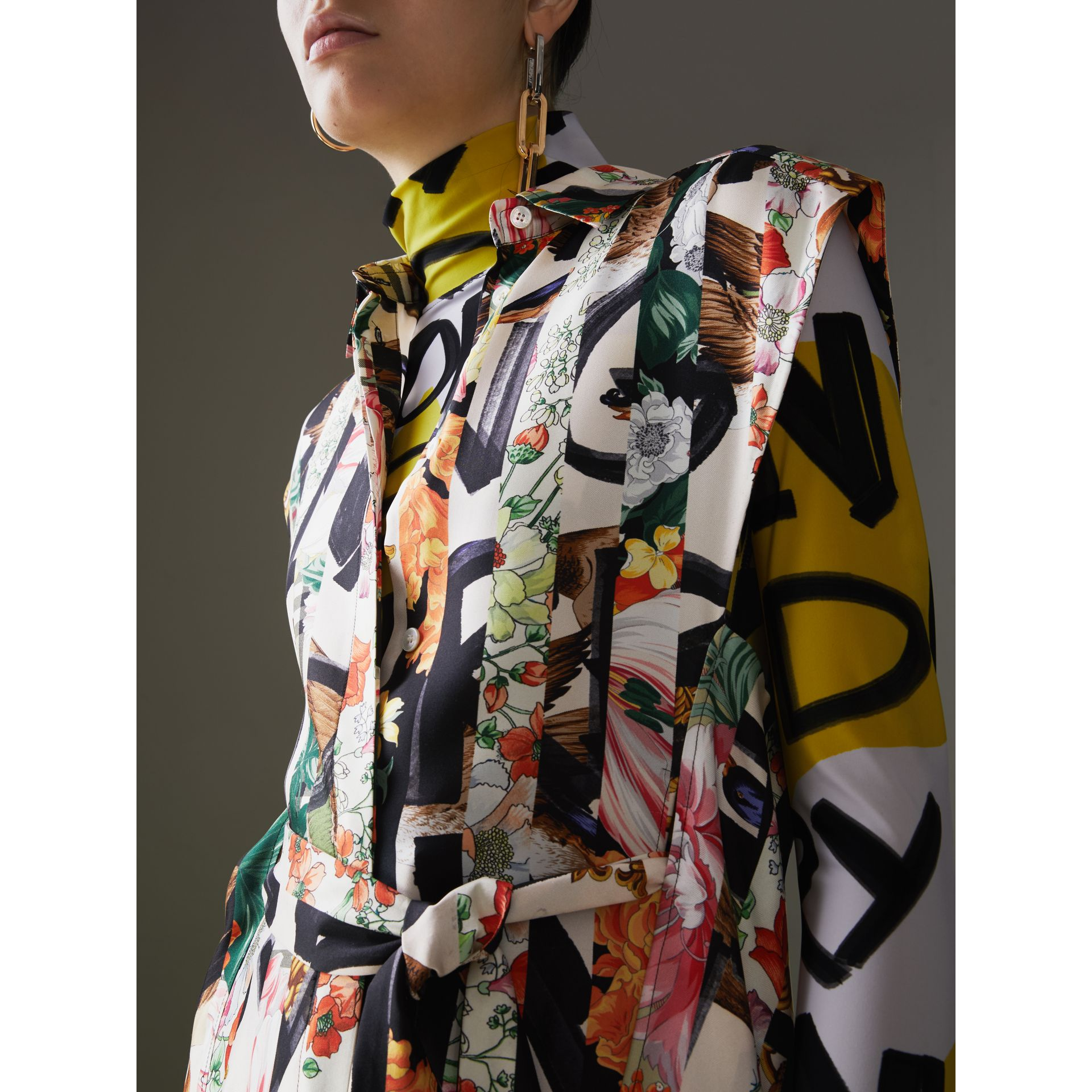 Graffiti Archive Scarf Print Silk Shirt Dress in Multicolour - Women | Burberry Canada - gallery image 1