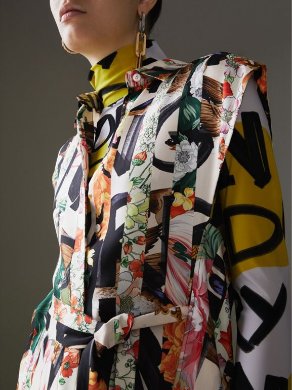 Graffiti Archive Scarf Print Silk Shirt Dress in Multicolour - Women | Burberry - cell image 1