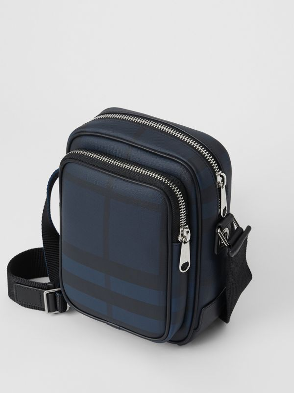 Small London Check Crossbody Bag in Navy/black - Men | Burberry United Kingdom - cell image 2