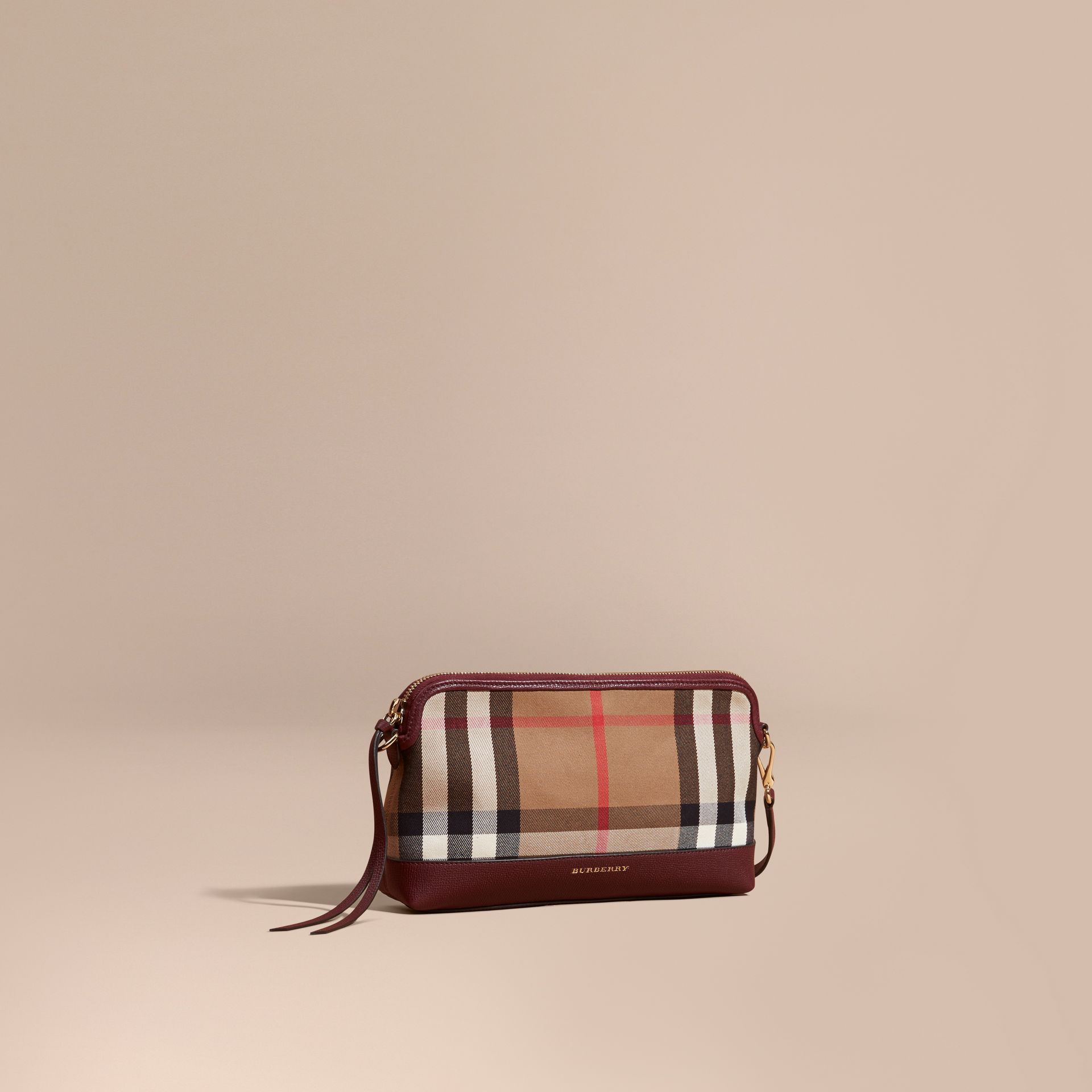 Mahogany red House Check and Leather Clutch Bag Mahogany Red - gallery image 1