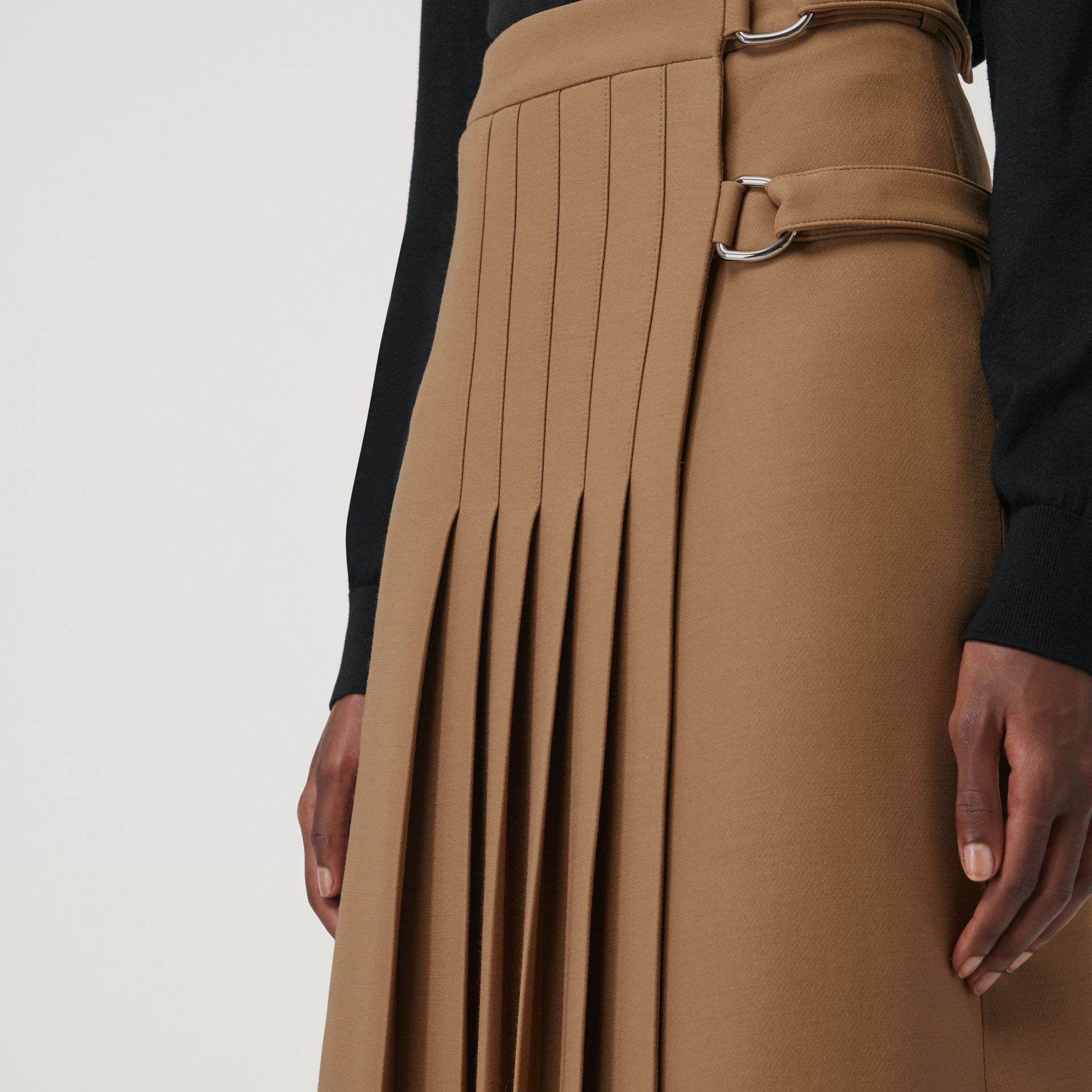Wool Silk Kilt in Camel - Women | Burberry Canada - gallery image 1