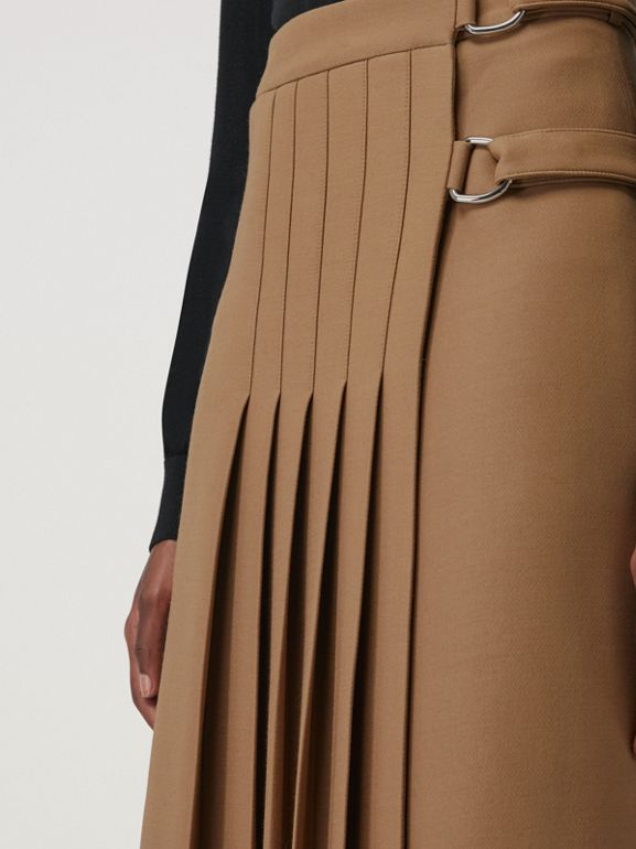 Wool Silk Kilt in Camel - Women | Burberry Canada - cell image 1