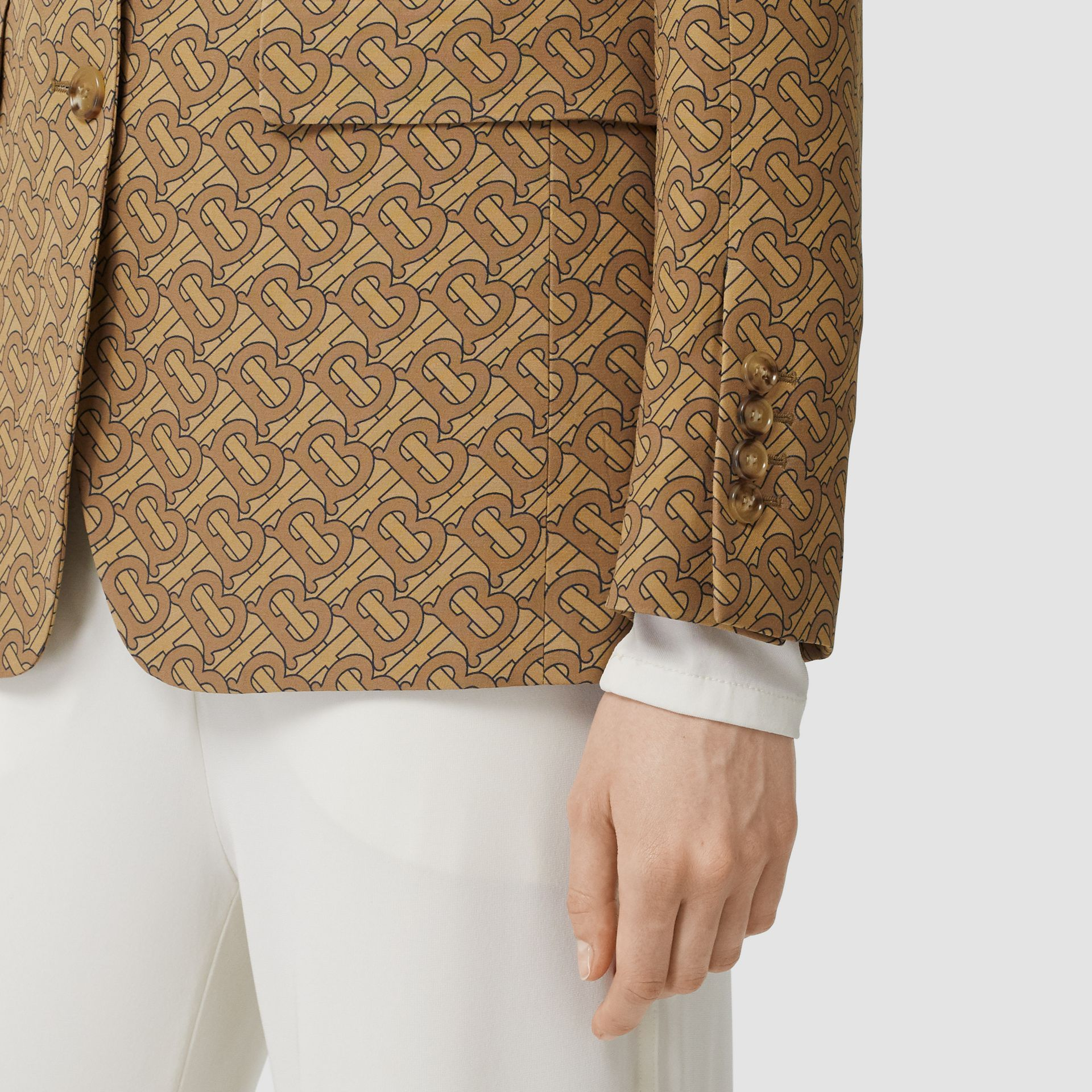 Monogram Print Silk Tailored Jacket in Tawny - Women | Burberry - gallery image 4